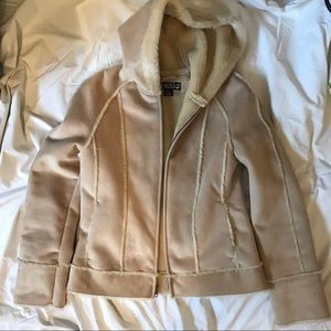Static Faux Suede Hooded Jacket